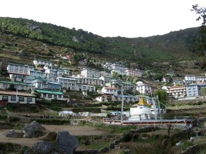 The village of Namche, where they will be trekking to tomorrow (photo by OMer and Freedom Climber, Nancy Byrne)