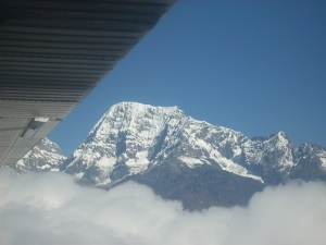 View of the mountain range they are flying through on the way to Lukla