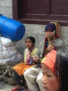 Girl singing in Lukla