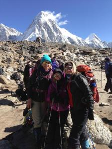 Tina and other climbers on Kala Patthar