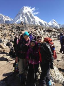 Tina and other climbers on Kala Patthar