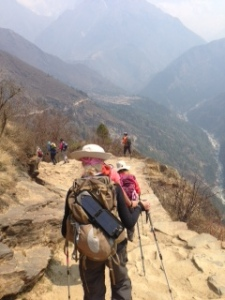 Trekking to Dingboche - see the clouds....
