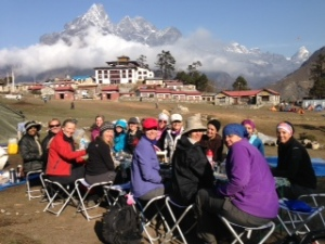 Eating breakfast before leaving for Dingboche