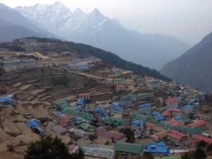 View of Namche where they stayed last night